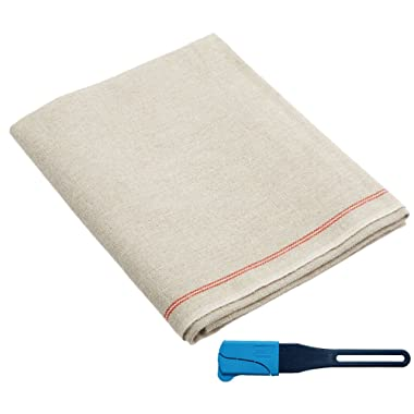 Premium Professional Bakers Couche - 35 x26 , 100% Flax Linen Heavy Duty Proofing Cloth from Tissage Deren of France, with One Bonus Mure & Peyrot Fixed Blade Lame, by BrotformDotCom