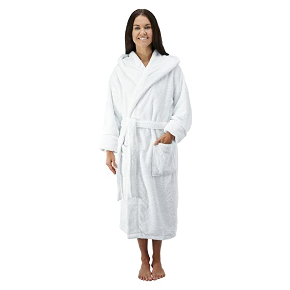 bcd82ddea8cee Comfy Robes Women s Deluxe 20 oz. Turkish Cotton Hooded Bathrobe at Amazon  Women s Clothing store