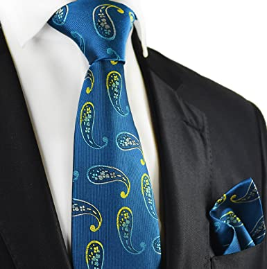 1f5e874b28cd Amazon.com: Storm Blue Paisley Paul Malone Silk Tie and Pocket Square:  Clothing