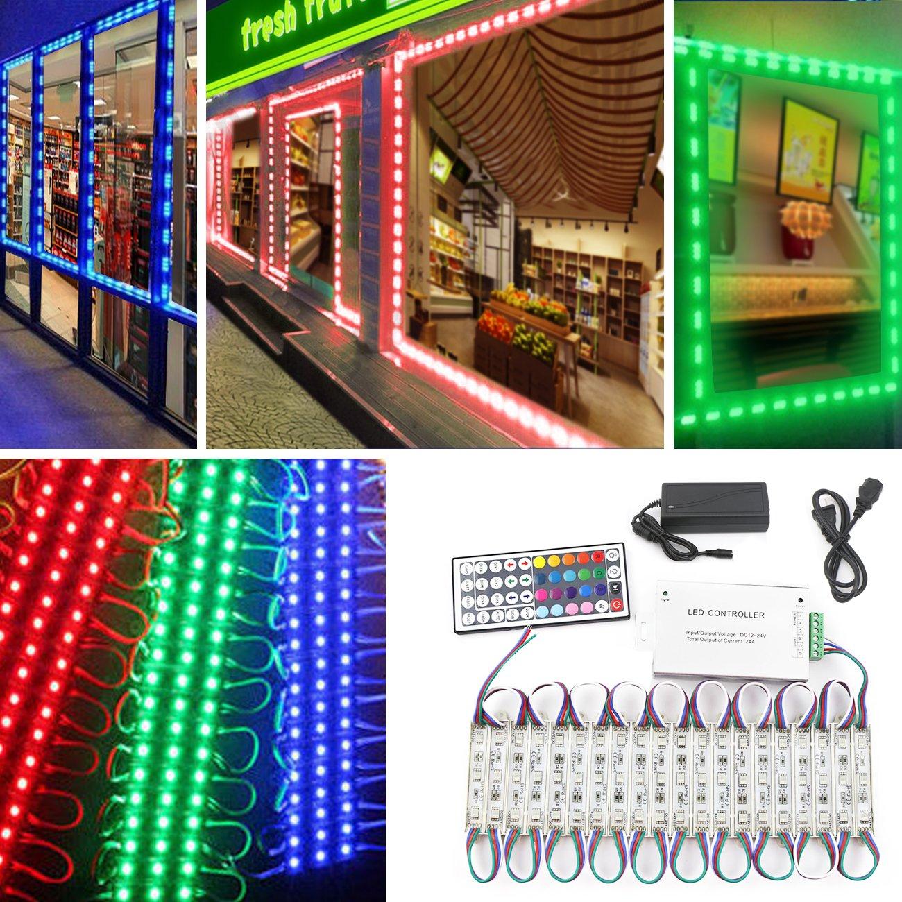LEDライト、10ft 20ピース防水装飾ライトのショーウィンドウのLetter Sign広告サインLEDライトモジュール、LEDモジュールストアフロントウィンドウサインストリップライト RGB light B07D2DRHQJ 28694   RGB light