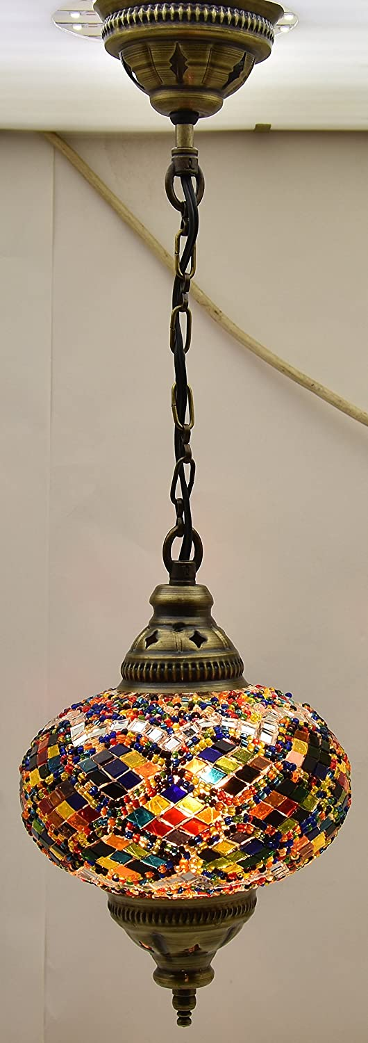 Ceiling Pendant Fixtures Mosaic Lamps Turkish Hanging Lights Moroccan Lanterns Color Glass Size 3 Multi Colored Arabian Nights Com
