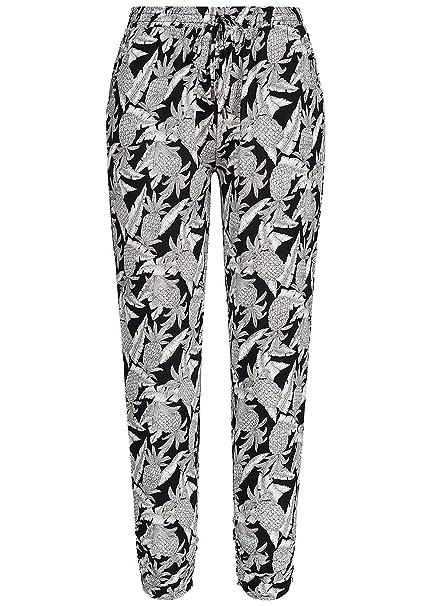 c933e365e22c12 Seventyseven Lifestyle Damen Sommer Hose Ananas Muster 2 Taschen, schwarz  weiß, Gr:L