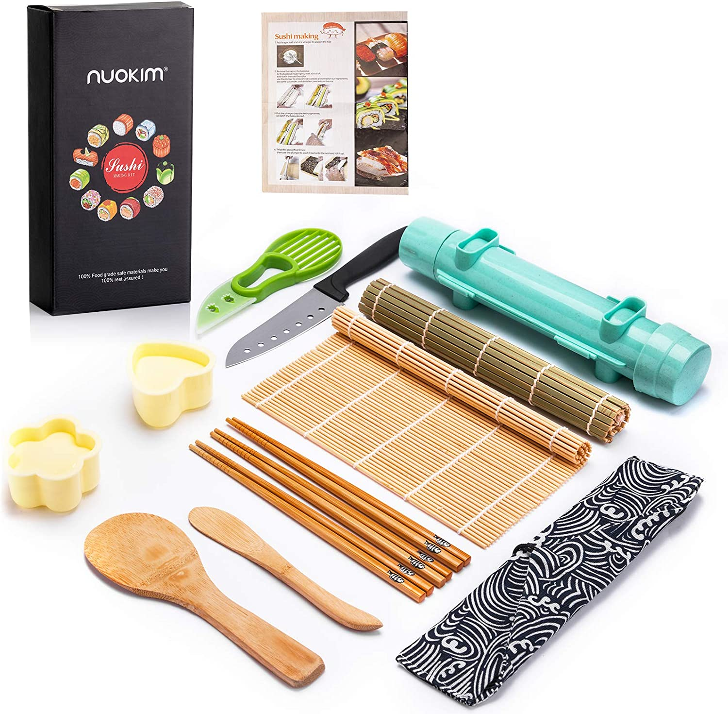 Nuokim Sushi Making Kit,Sushi Mat,Sushi Bazooka All in One Sushi Maker with Bamboo Mat,Sushi Knife, Paddle, Spreader,Chopsticks, Rice Molds,Beginners' Guide Book, Sushi Roller for Family Fun