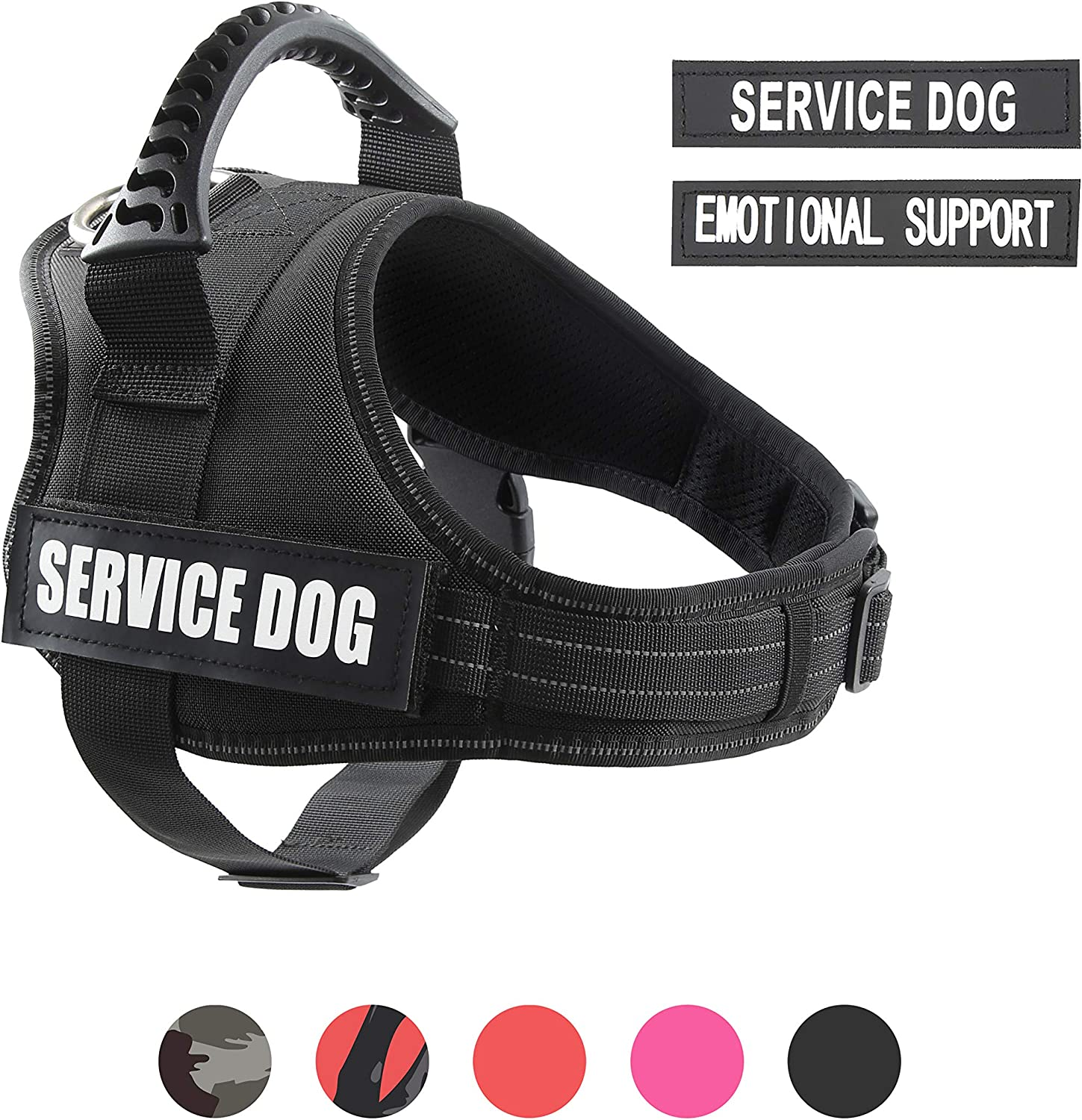 Red//Black//Pink//Camo pawshoppie Real Reflective Service Dog Vest Harness Including 2 Free Removable Service Dog and 2 Emotional Support Patches Comfortable Padded Dog Training Vest with Handle