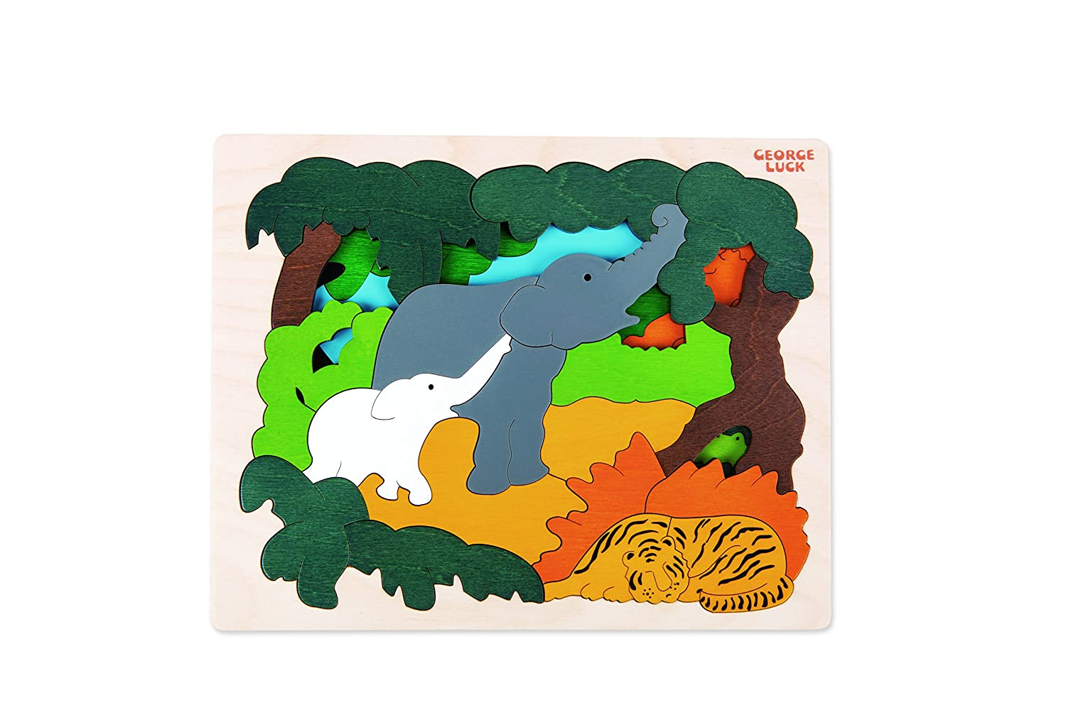 Hape Asian Animals George Luck Wooden Layers Puzzle