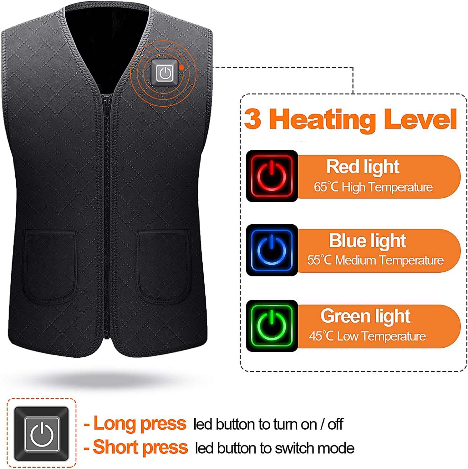 Fxexblin Electric Heated Vest 4XL Heating Jacket Clothing Warm Jacket Gilet with USB Charging