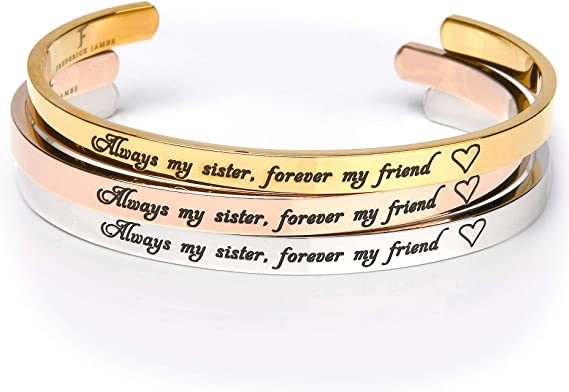 Jewelry Sister Bracelet Forever My Friend Bangle Birthday Sister Gifts from Sister or Brother| Bracelet Always My Sister Cuff