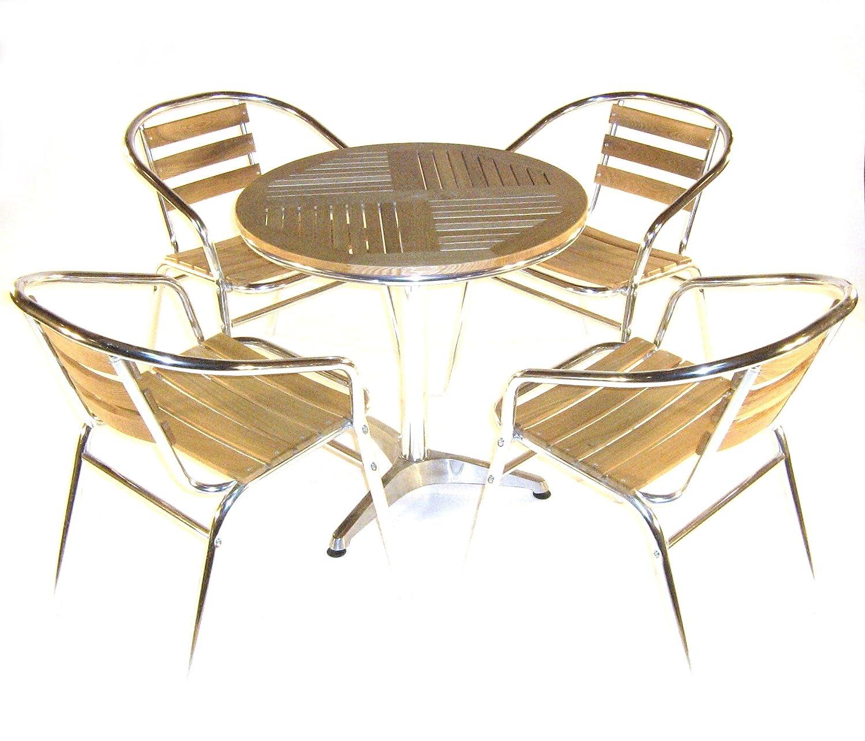 Ash Aluminium Bistro Set Garden Set 4 x Ash & Aluminium Chairs