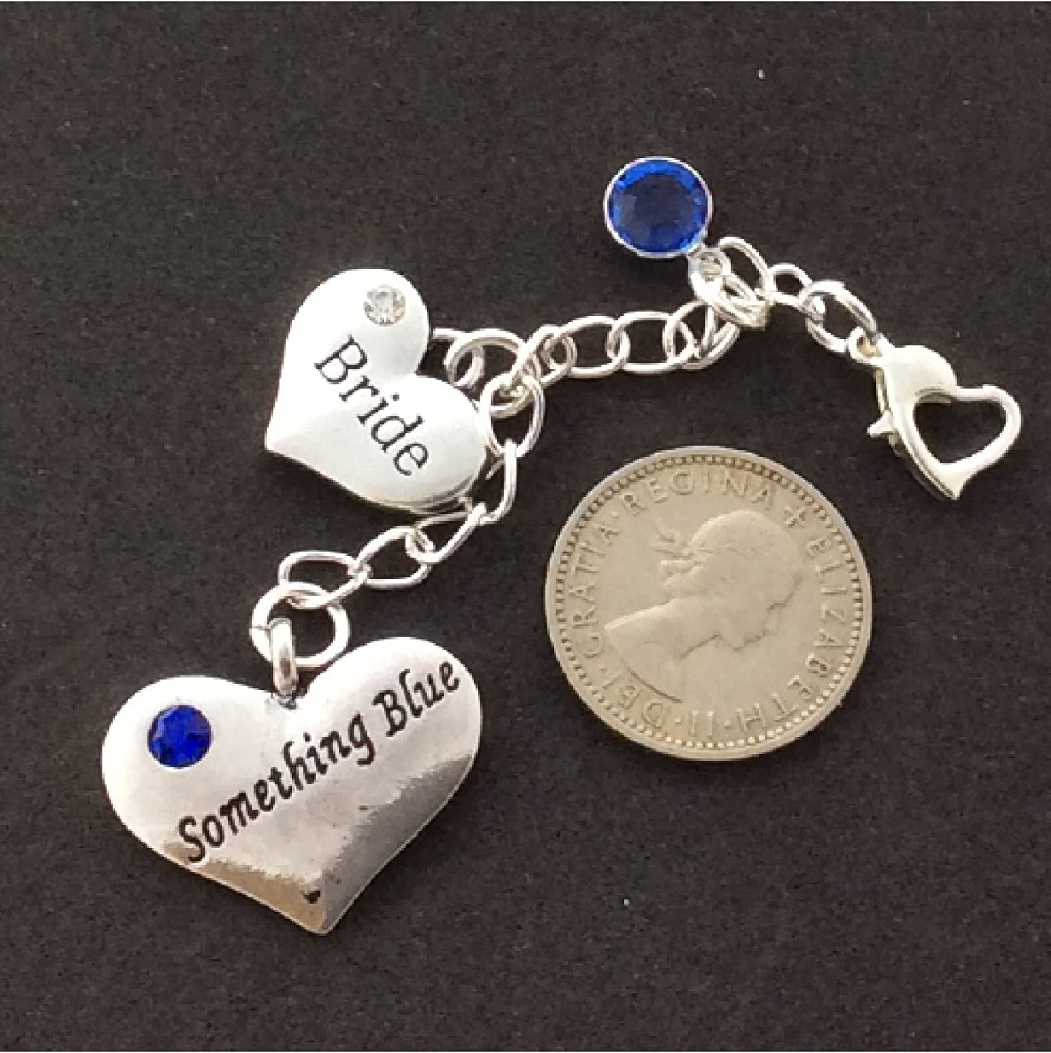 Amazon.com: Brides Garter Charm, Something Blue, with REAL SIXPENCE, wedding,shower,bridal jewelry gift: Arts, Crafts & Sewing