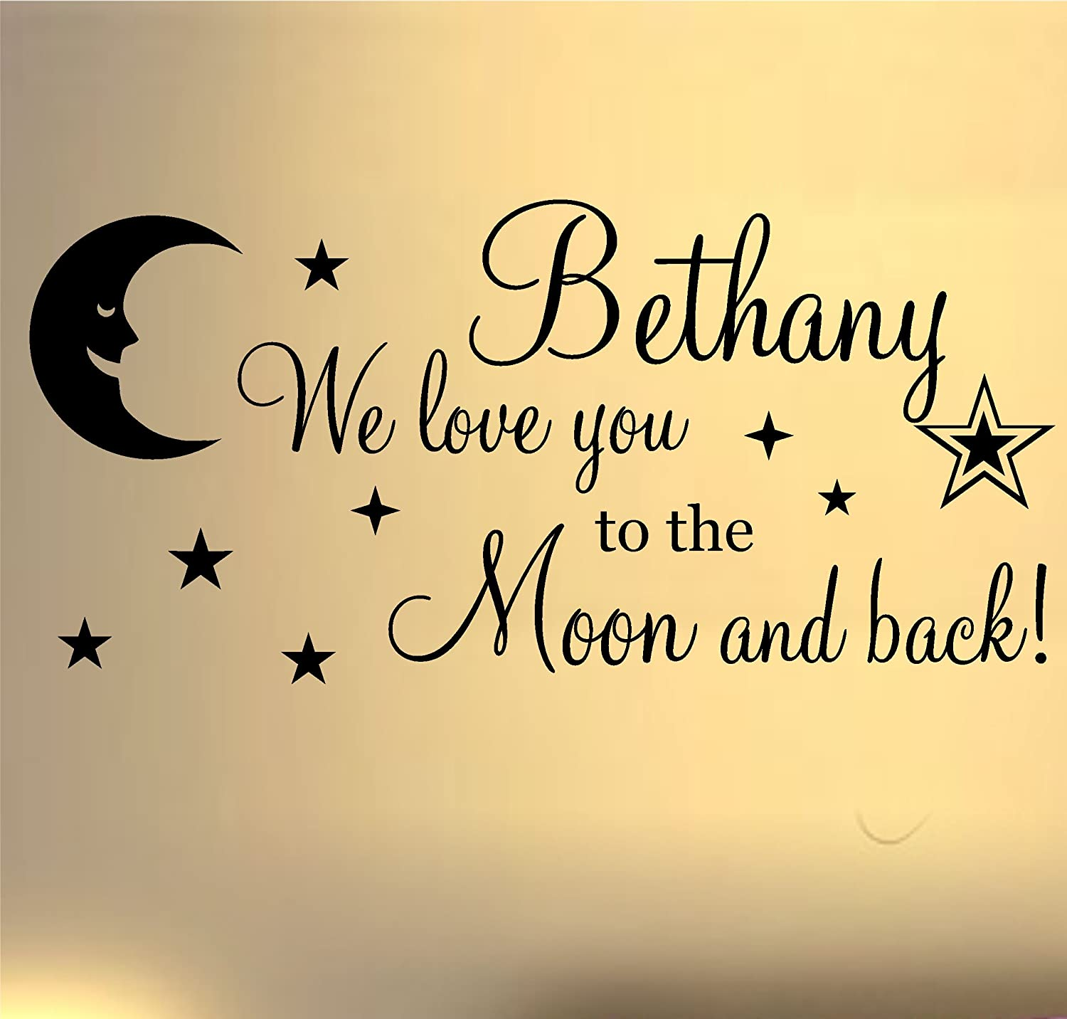 Amazon.com: WE LOVE YOU TO THE MOON AND BACK WALL ART STICKER QUOTE ...