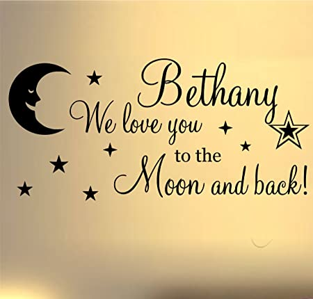we love you to the moon and back wall art sticker quote ideal for