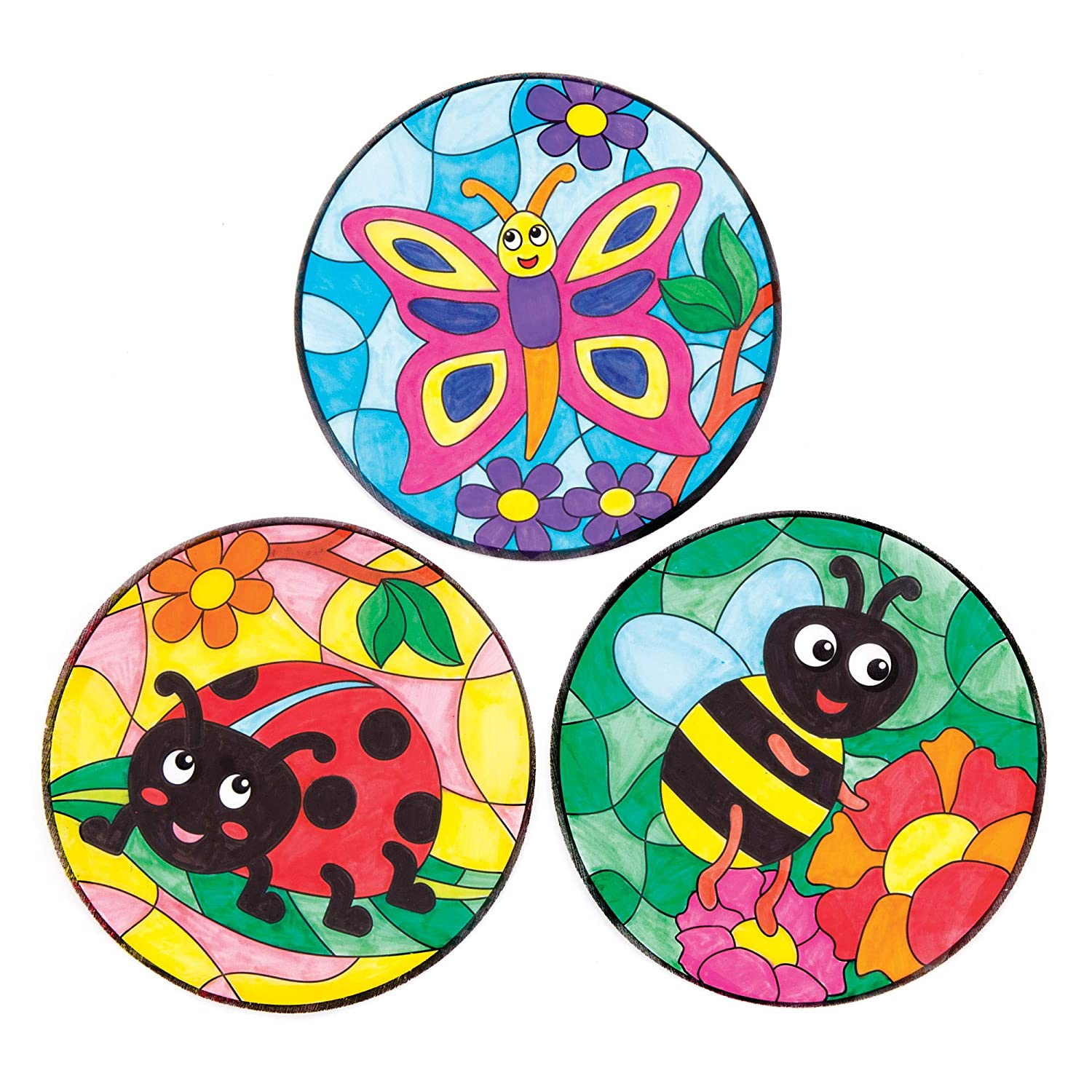 Bug Colour-In Window Decorations Pack of 12