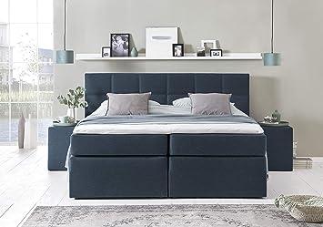 Möbelfreude® Boxspringbett Bea Midnight Blue 180x200cm H2 inkl. Lieferung  ins Schlafzimmer & Visco-Topper, 7-Zonen Taschenfederkern-Matratze, ...