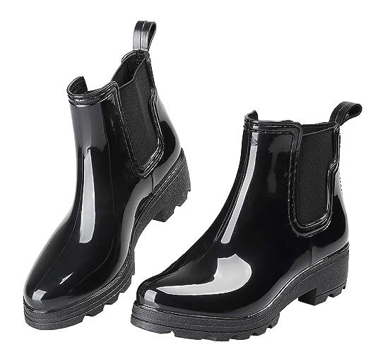 Eyushijia Women's Short Rain Boots Waterproof Slip On Ankle Chelsea Booties by Eyushijia
