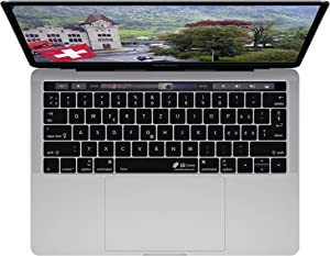 KBCovers - Keyboard Cover for Swiss Language fits Apple MacBook Pro 13 & 15 inch w/Touch Bar (Late 2016+)