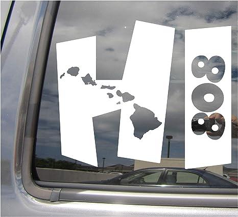HI Life Hawaiian Islands Vinyl Sticker Decal Car Truck window white 808 hawaii