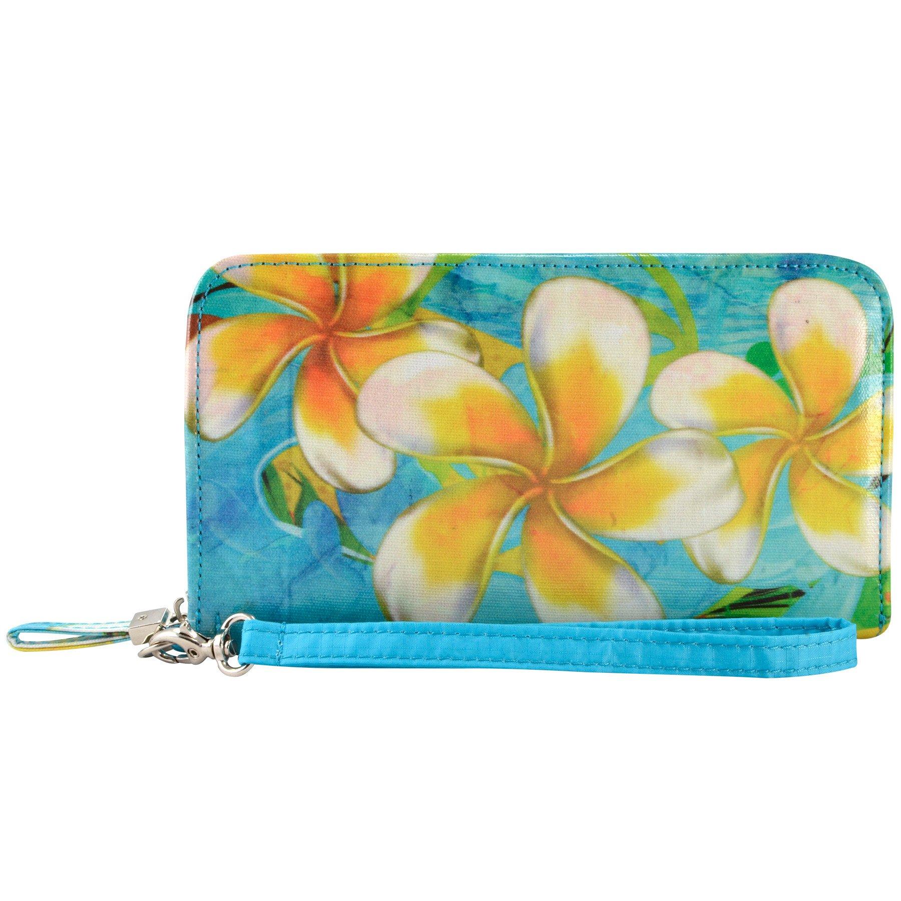 Alicia Klein® PLUMERIA VEGAN Zip Around Phone Card Coin Wristlet Clutch Wallet