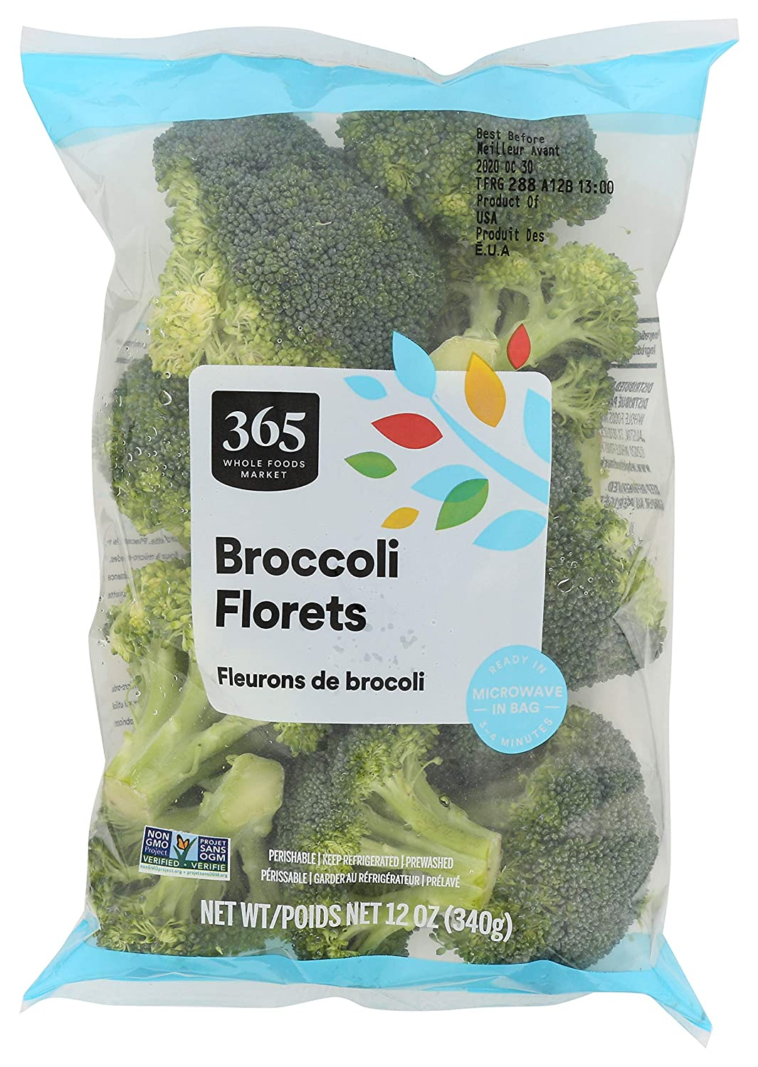 365 by Whole Foods Market, Produce - Packaged Vegetables, Broccoli - Florets, 12 oz