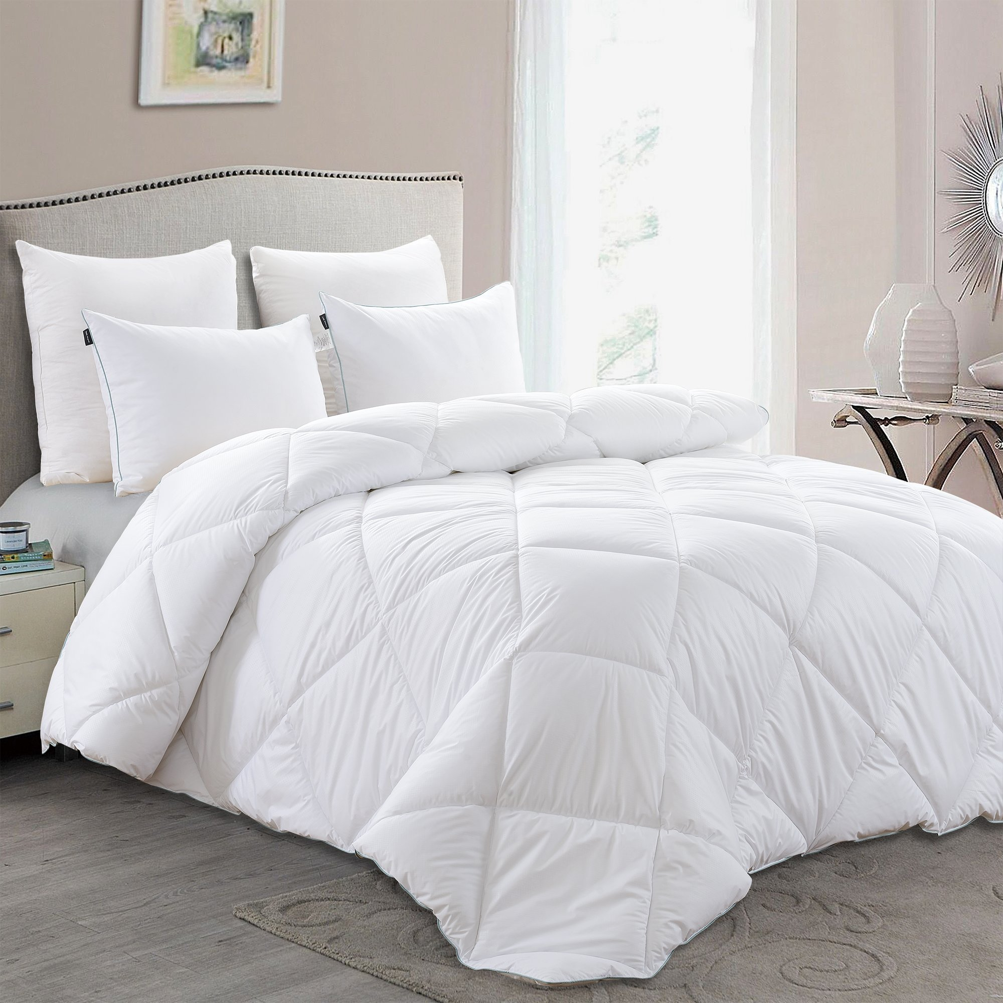 King Size Duck Down Comforter - Basic Beyond Luxury White Lightweight Duvet Insert with Soft Peach Skin Fabric Shell for Sleeping