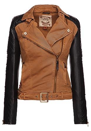 hot sale online fb3c0 649a8 khujo Damen Jacke Montes hellbraune Bikerjacke Material-Mix Ärmel aus  Kunstleder Damen Jacke Montes