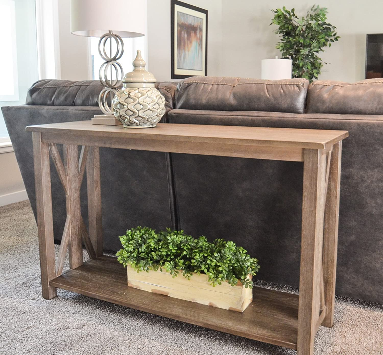 Amazon: Sofa Table - Solid Wood Rustic Farmhouse Style Console Table -  East End Collection – Weathered Gray - Living Room Furniture: Kitchen &  Dining