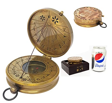 Precise Handmade Nautical Antique Brass Style Sundial Compass With Leather Case Decor Ture 100% Guarantee Antiques Maritime