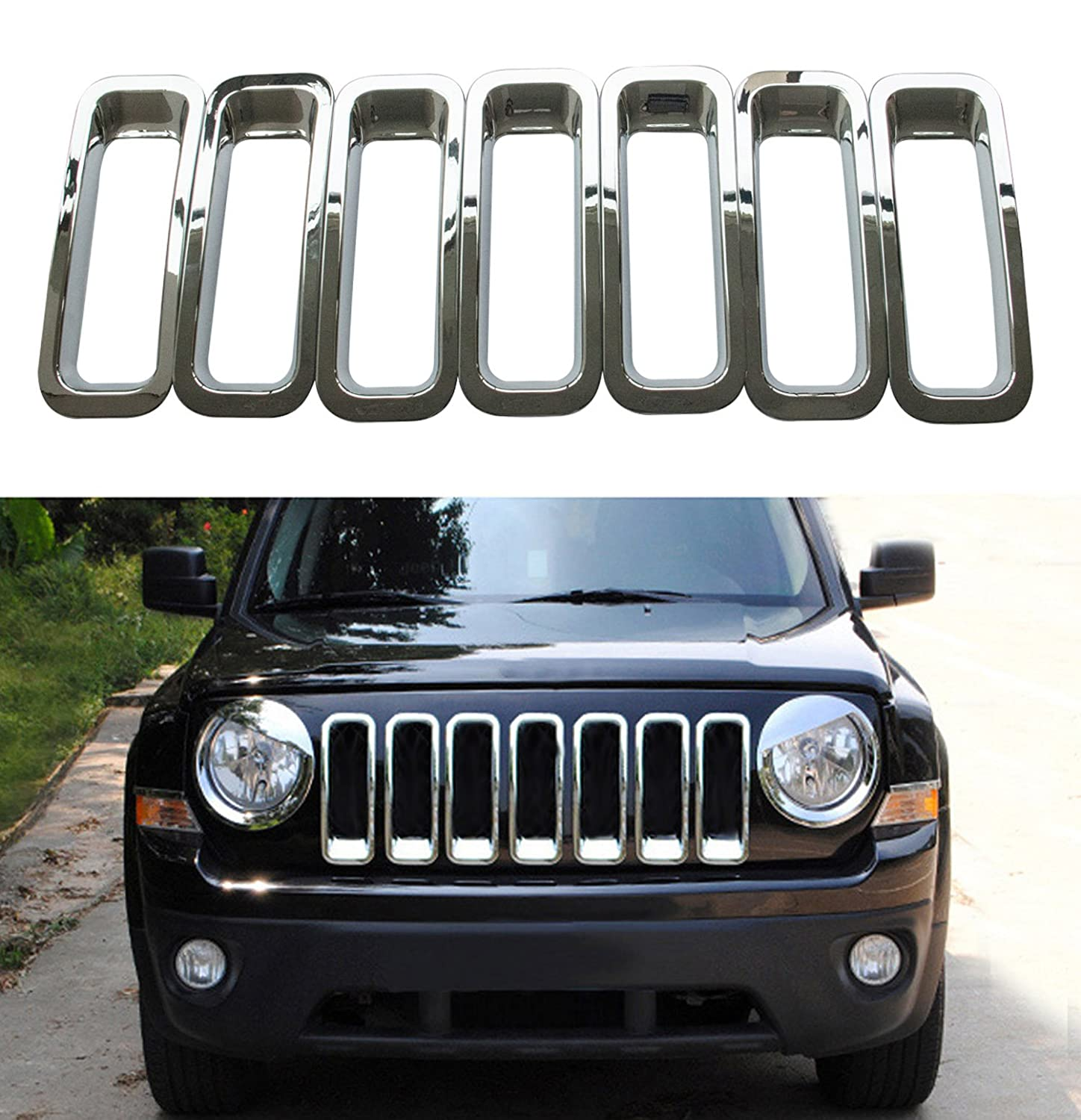 Bolaxin Jeep Patriot Black Chrome Front Grille Grill Trim Kits Set of 9(Angry Bird Style 9pcs) audio-electronic. TD