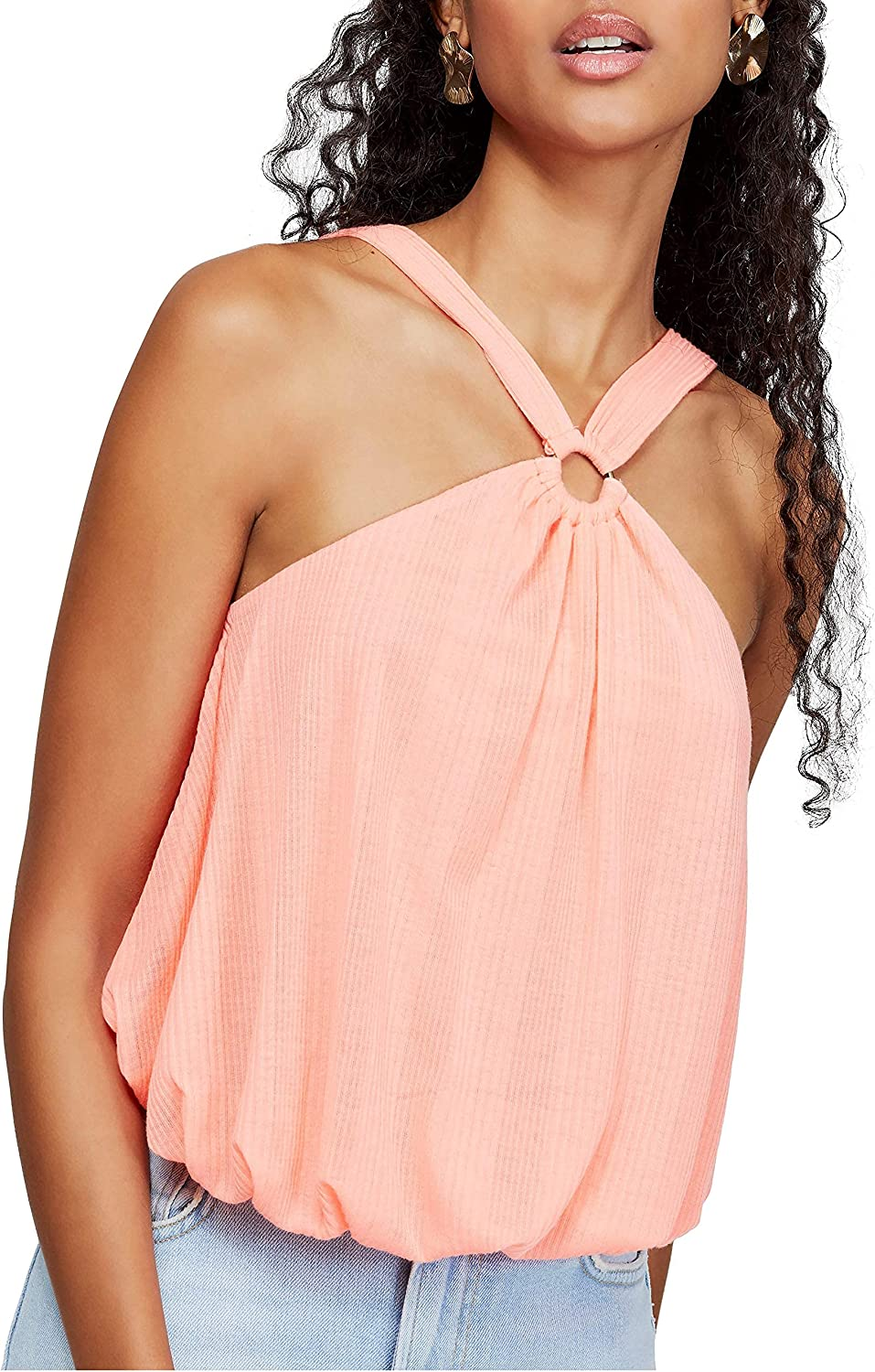 Free People | Just A Fling Halter Tank | Coral Electric | XS ...
