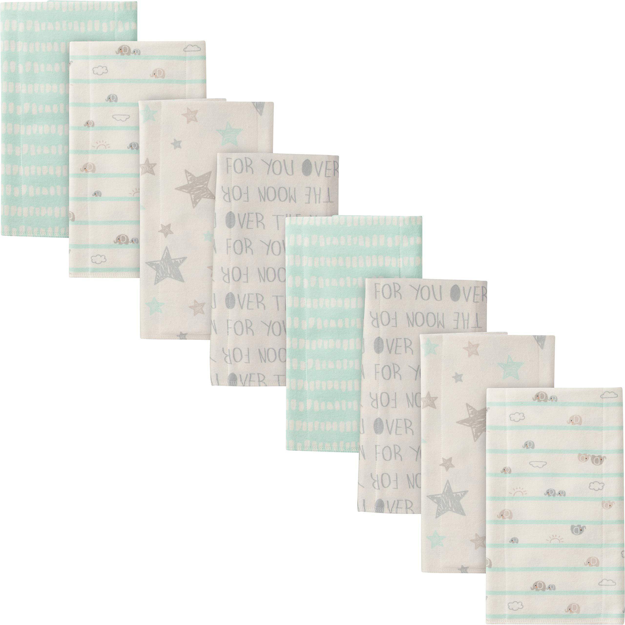 Gerber Baby 8-Pack Flannel Burp Cloth, Elephants, 20'' x 14''