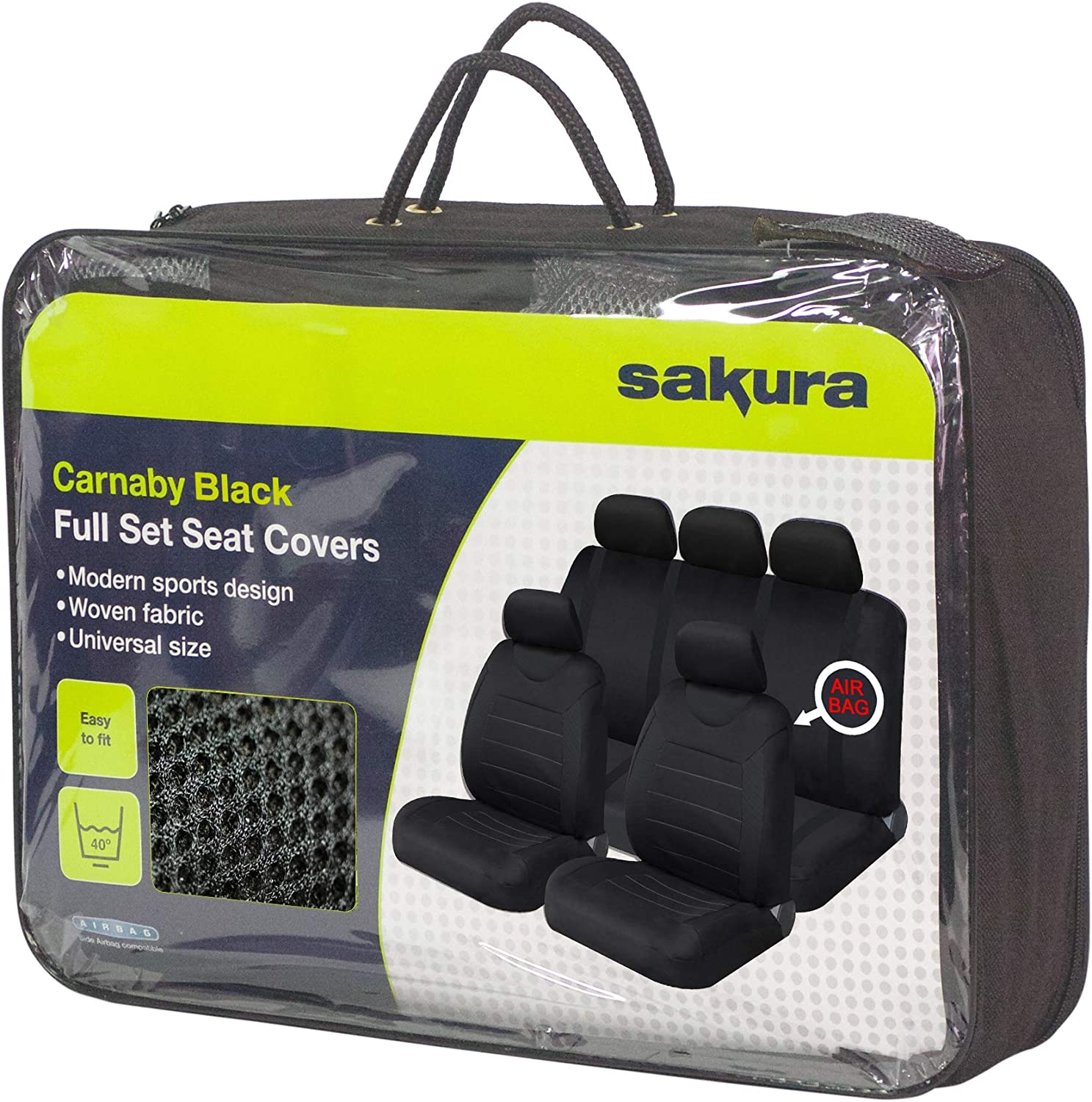Universal Fit Carnaby Grey Car Seat Covers /& Black Steering Wheel Cover Full Set