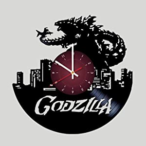 Godzilla Movie Vinyl Record Wall Clock - Kids Room Wall Decor - Gift Ideas for Children, Baby, Brother and Sister, him and her