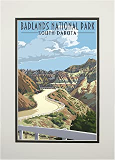 product image for Badlands National Park, South Dakota - Road Scene (11x14 Double-Matted Art Print, Wall Decor Ready to Frame)