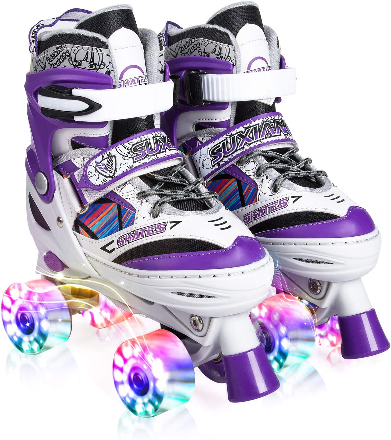 Amazon Com Kuxuan Doodle Design Roller Skates Adjustable For Kids With All Wheels Light Up Fun Illuminating For Girls And Ladies Sports Outdoors