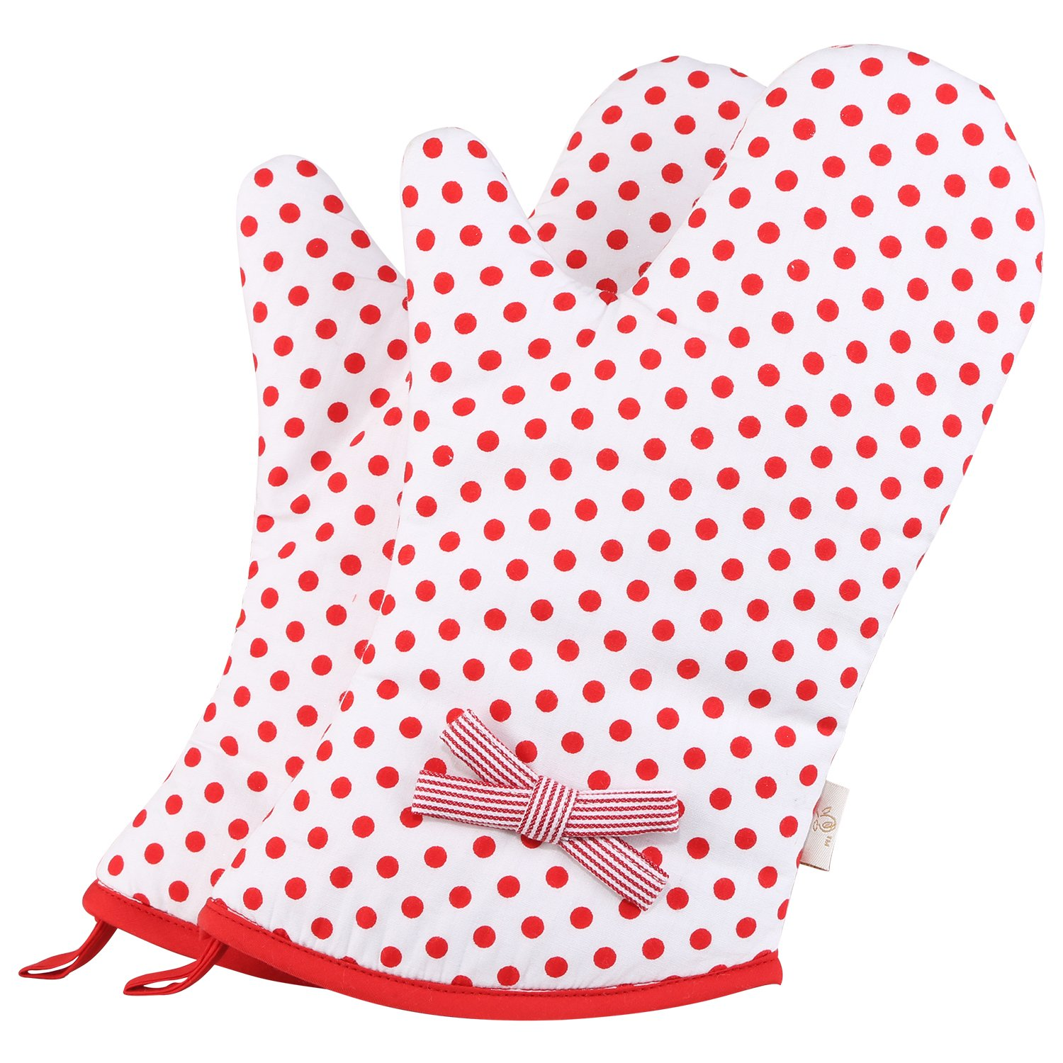 Neoviva Heat Resistant Quilting Oven Gloves for Adult Women in Everyday Kitchen, Set of 2, Polka Dots Cherry Tomato