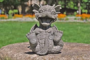 Süsser Gartendrache Kringelt Sich Vor Lachen Drache Figur