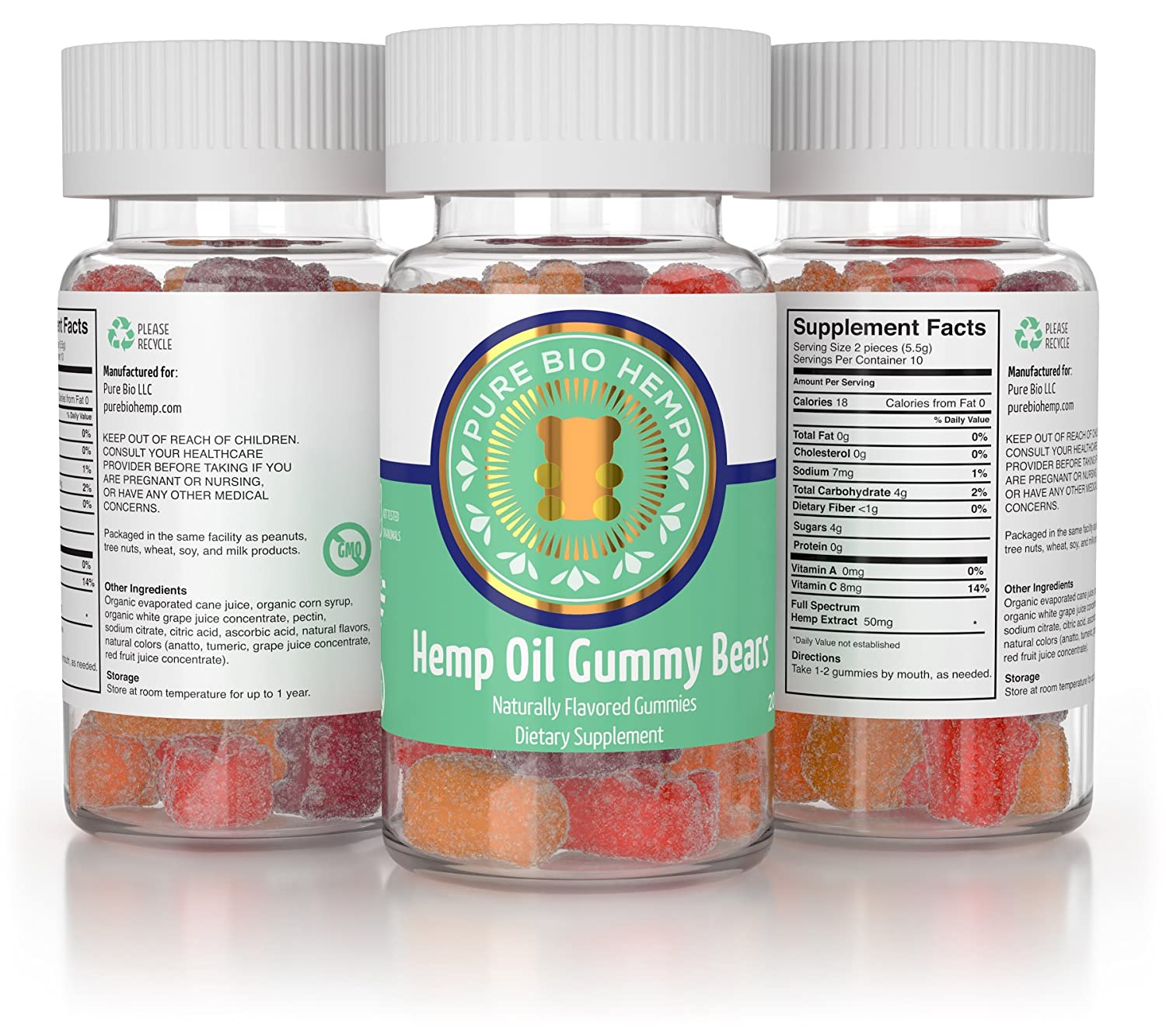 Organic Hemp Gummy Bears 500mg - Tropical Fruit Hemp Oil Flavor, 25mg per  gummy, pain and stress