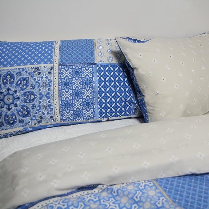 Just Contempo Patchwork Marroquí - Juego con Funda nórdica y Fundas de Almohada, Azul, tamaño: King Size: Amazon.es: Hogar