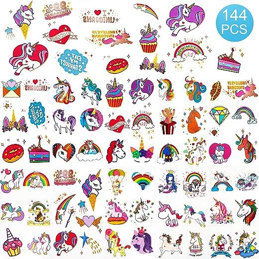 SAVITA Unicornio tatuajes temporales 136 Estilos de purpurina para ...