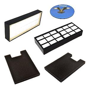 HQRP 2-Pack Filter Kit for Eureka Altima 2950AV, 2961AVZ, 2961BVZ, 2961TUR, 2991AVZ, 2993AV, 2996AVZ, 2996BVZ, 2996DVZ Upright Vacuum Cleaner Coaster