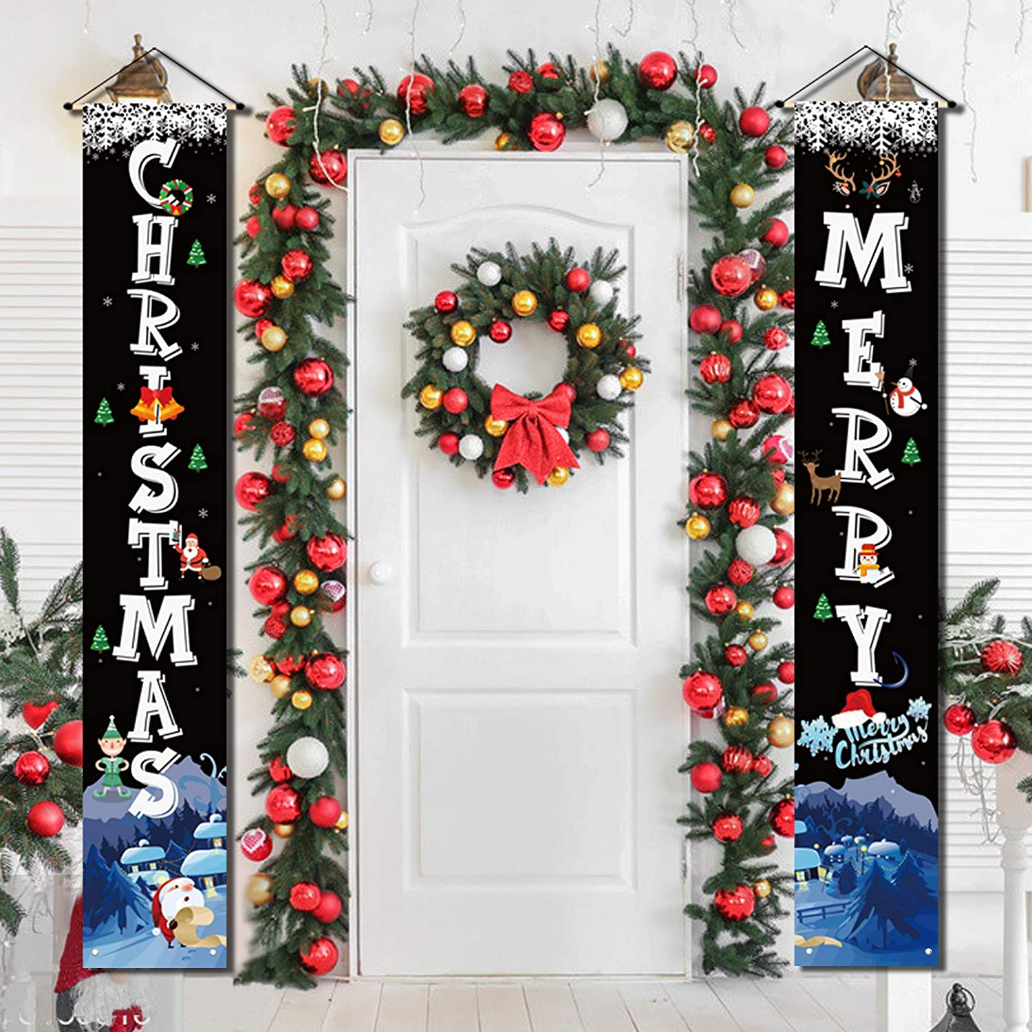 Christmas Porch Decorations for Home Merry Christmas Banner,Christmas Door Decorations Indoor Porch Welcome Sign for Front Door Christmas Decoration Outdoor Flags, Christmas Signs Hanging Decorations