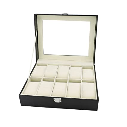 Bocar Pu Leather Watch Box For Personalized Glass Top Watch Case Organizer Sbx 010 Black
