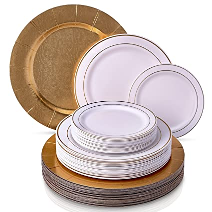 MODERN ELEGANT ECONOMICAL HEAVY PLASTIC PLATES Disposable Dinnerware Set | Golden Glare Collection by Silver Spoons  sc 1 st  Amazon.com & Amazon.com | MODERN ELEGANT ECONOMICAL HEAVY PLASTIC PLATES ...