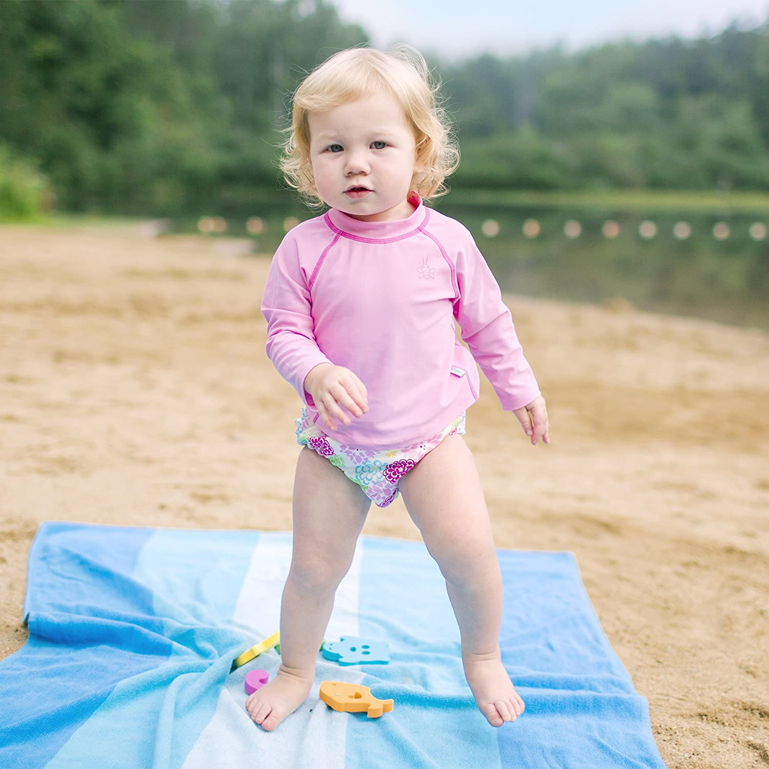Long Sleeve Rashguard Shirt sun protection/—wet or dry,Light Pink Classic,6 months i play All-day UPF 50