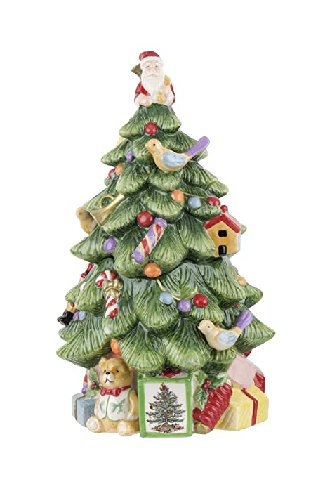 Spode Christmas Tree Sculpted Christmas Tree Shaped Covered Cookie Jar,  12 Inch