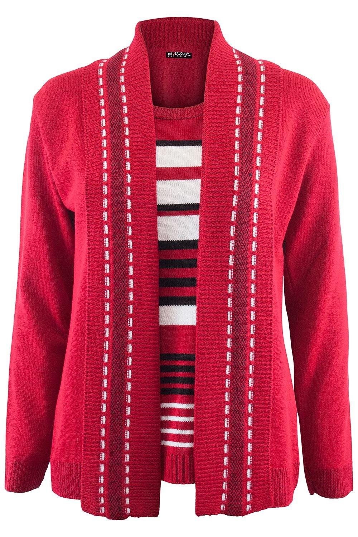 Be Jealous Womens Ladies Fine Knitted Striped Jumper Open Long Sleeve Sweater Twin Cardigan