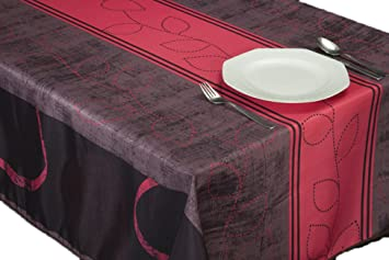 CIRAD Tischsets Fuchsia Bordeaux schmutzabweisend Farben im Fr/ühjahr Dekoration Haus 130 x 150 cm