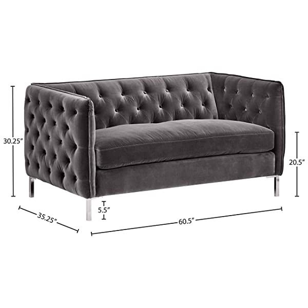 "Rivet Eva Tufted Mid-Century Velvet Down-Filled Loveseat, 60.5""W, Dark Grey"