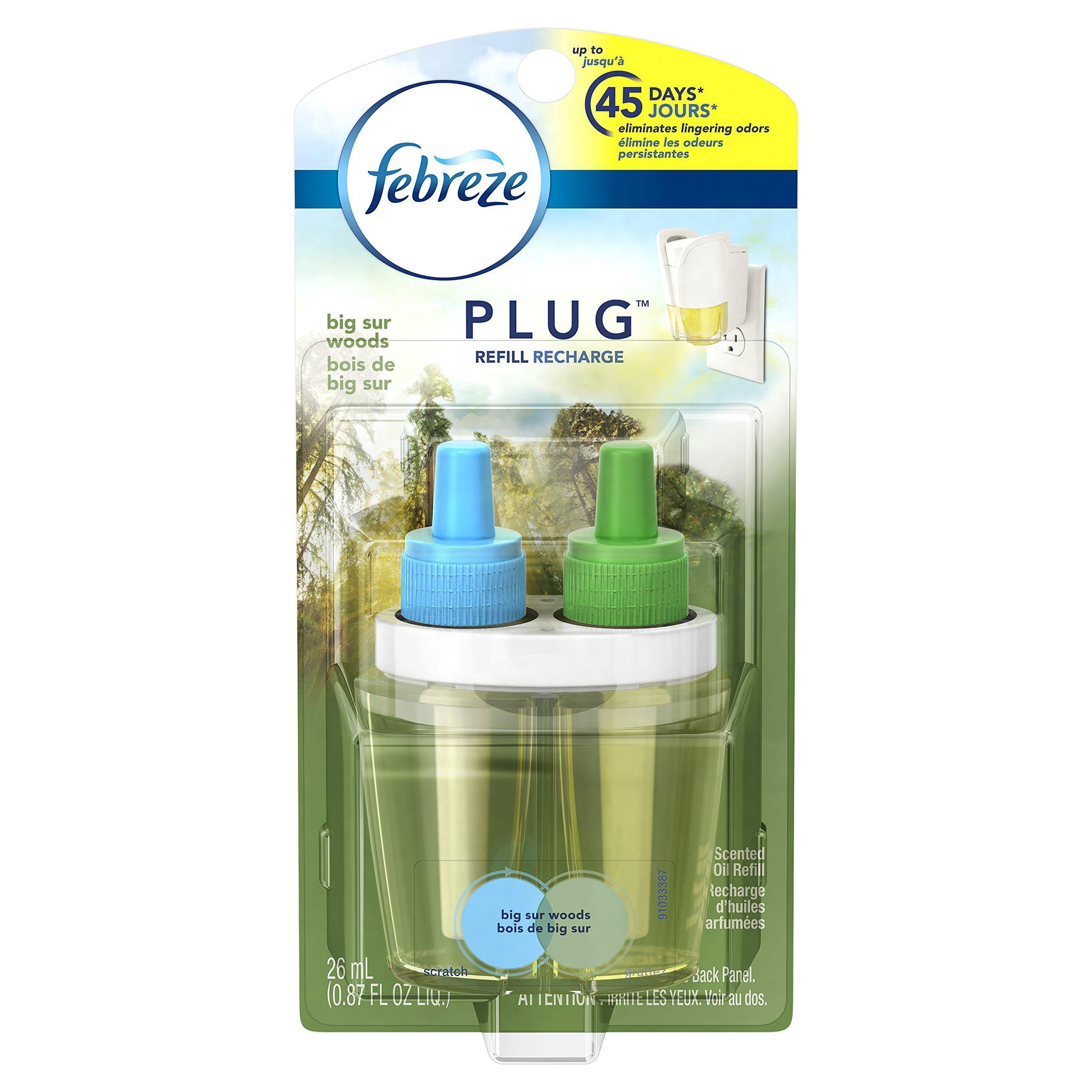 Febreze Noticeables Big Sur Woods Single Oil Refill Air Freshener (1 Count, 0.87 oz),