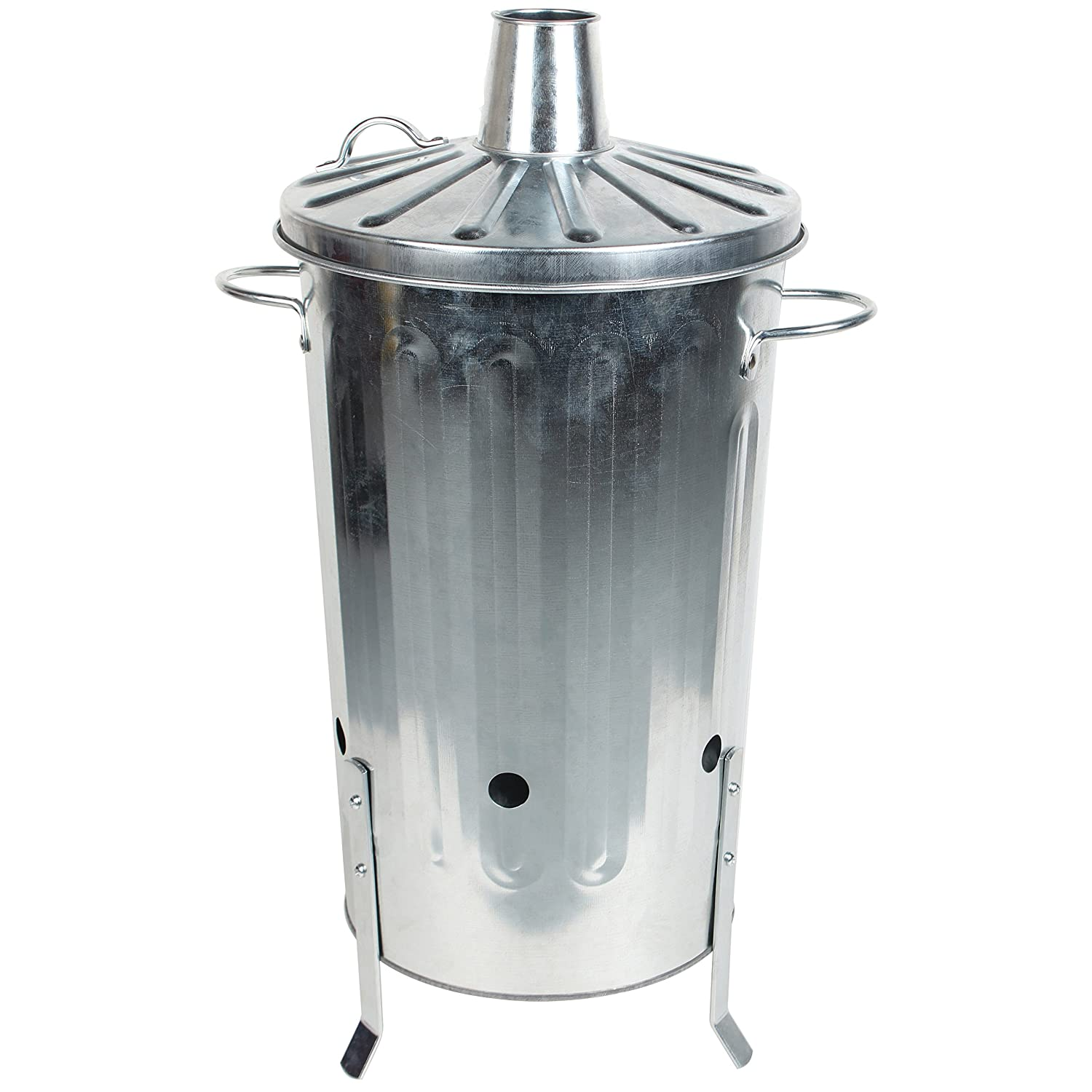 CrazyGadget 18 Litre 18L Small Garden Galvanised Metal Incinerator Fire Burning Bin for Wood Paper Leaves