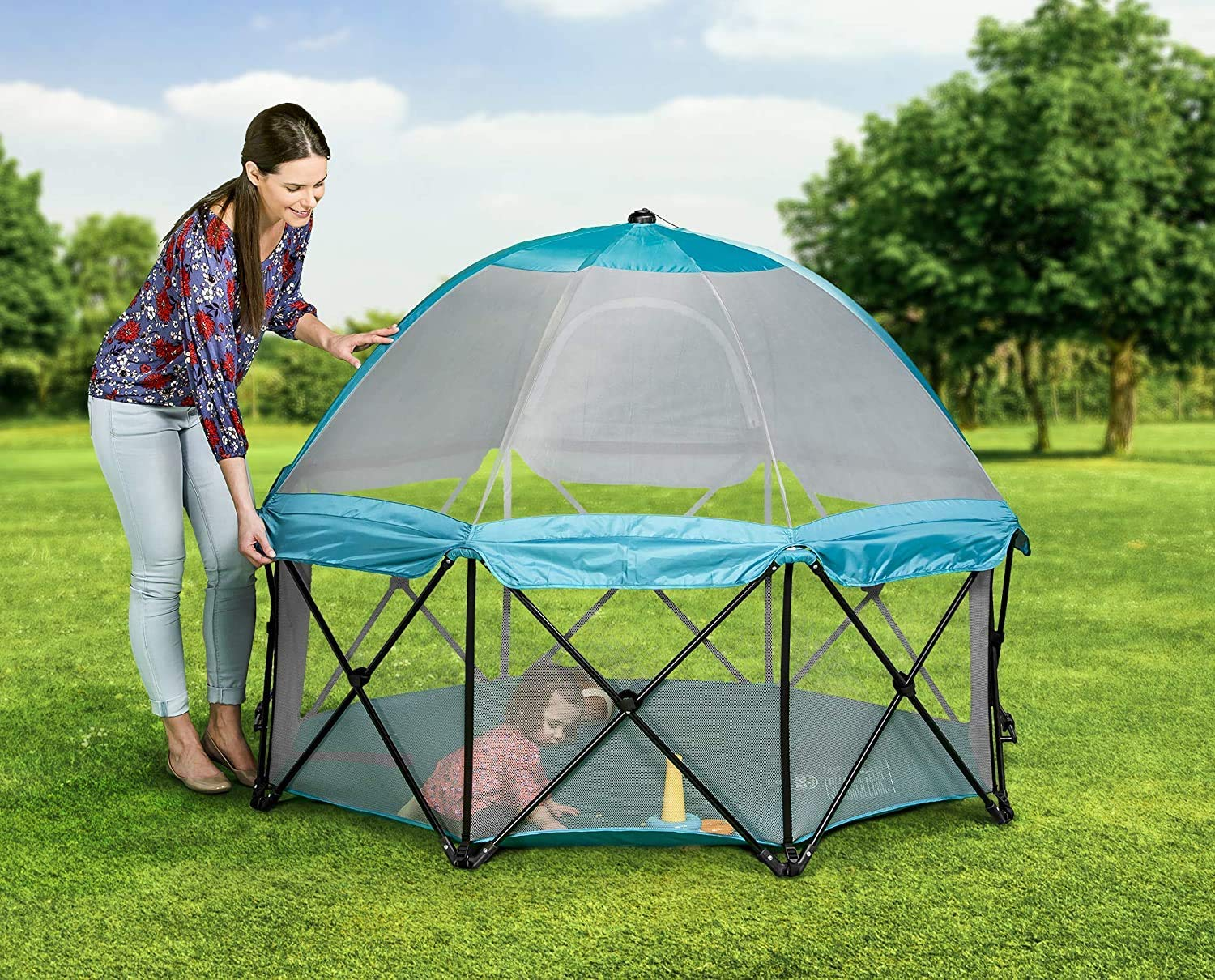 Regalo 8 Panel Foldable and Portable Play Yard with Carrying Case and Full Coverage Canopy Teal